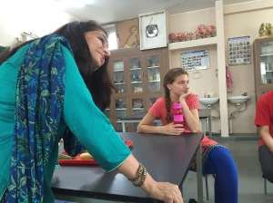 My amazing Hindi teacher  feat. Abby focusing intensely.